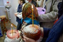 Освящение пасхальной трапезы в Черепово